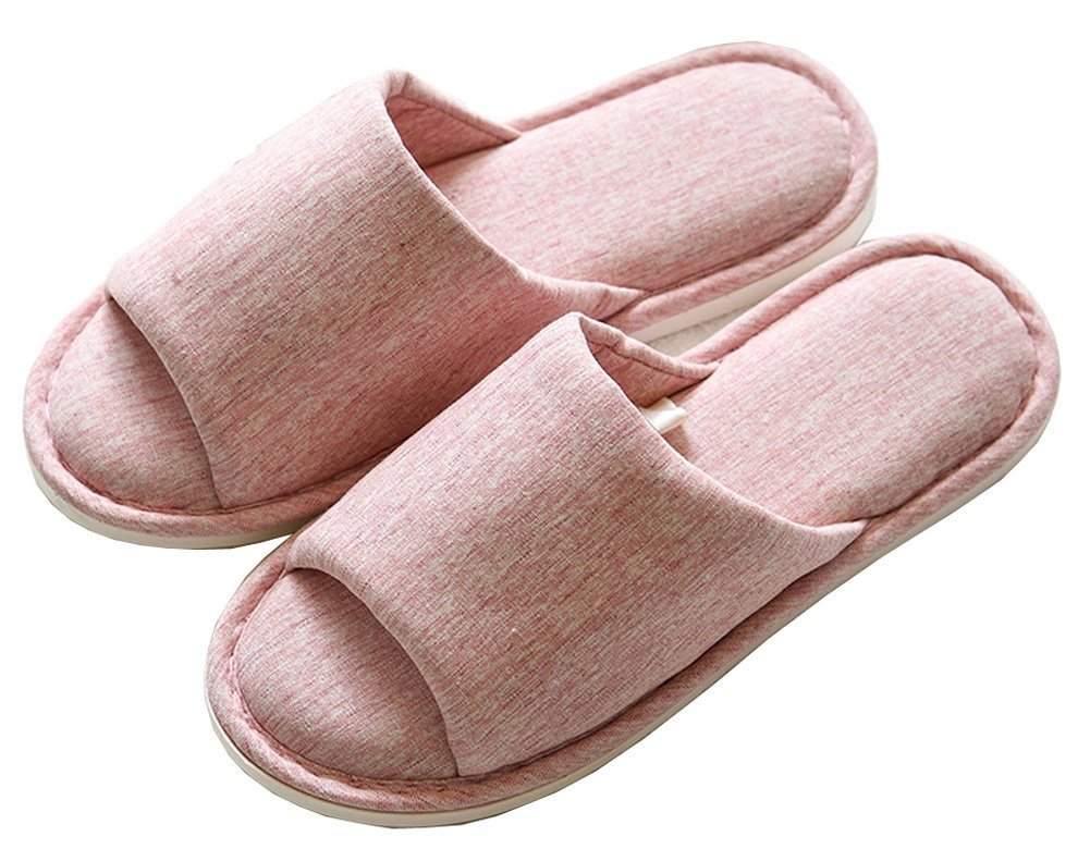 Asifn Indoor Home Slippers Memory Foam Men Women Cotton Cozy Massage Flax House Casual House (7.5 US Women/6 US Men, Pink) by Asifn (Image #1)