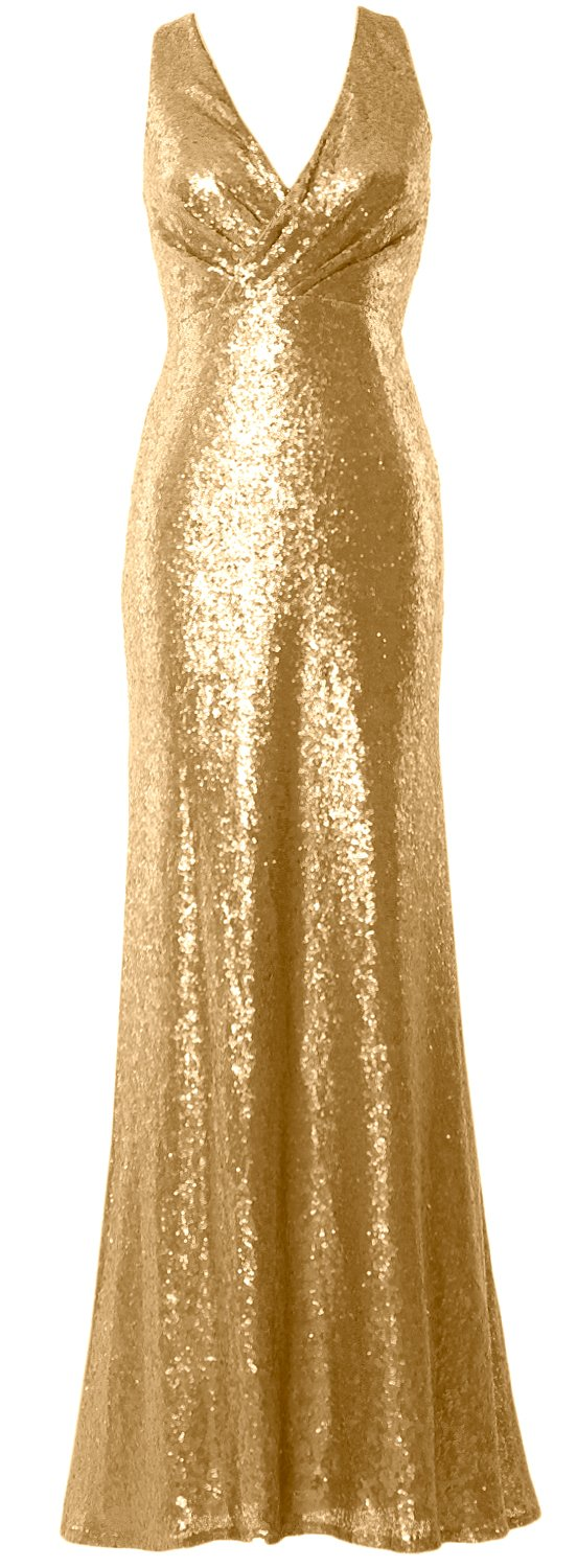 MACloth Women V Neck Sequin Long Bridesmaid Dress 2017 Wedding Party Formal Gown (26w, Gold)