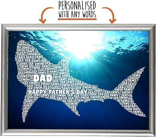 Tiburón Gone pesca personalizado nube de arte de la palabra regalo del día de padre Papá Daddy, A3 Print: Amazon.es: Hogar