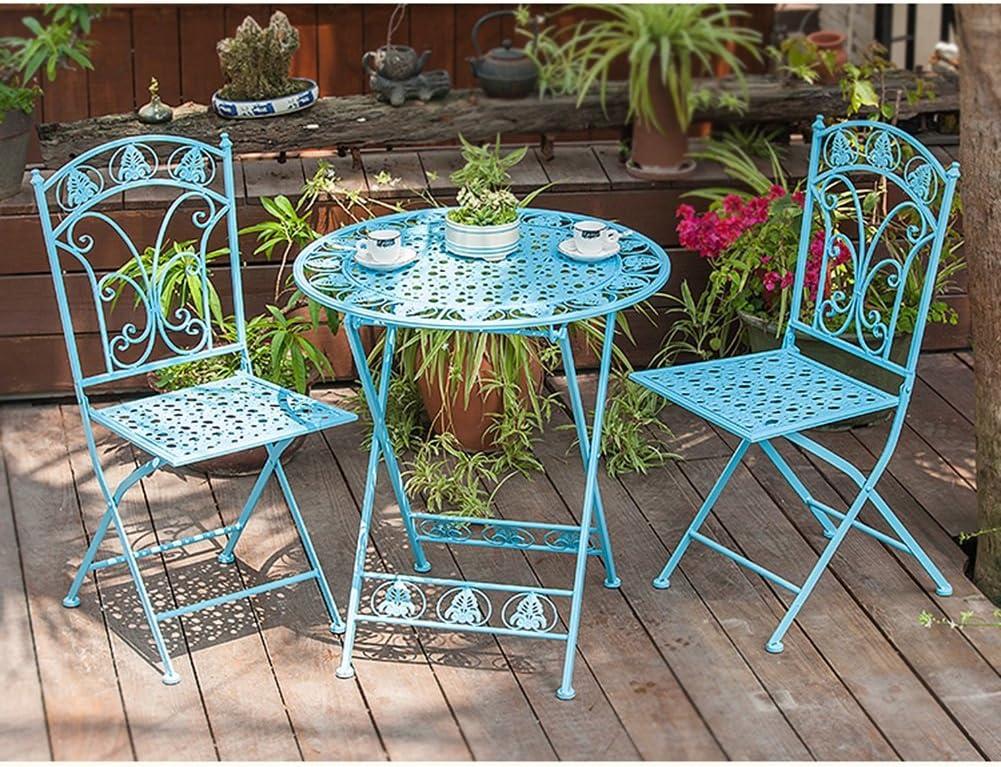 Color Blue Lbymyb Tavolo Da Esterno In Ferro Battuto E Combinazione Di Tre Sedie In Ferro