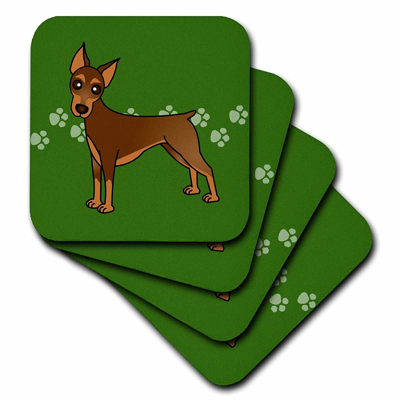 Set of 8 3dRose CST/_40906/_2 Cute Doberman Pinscher Red Coat Cartoon Dog Green with Pawprints Soft Coasters
