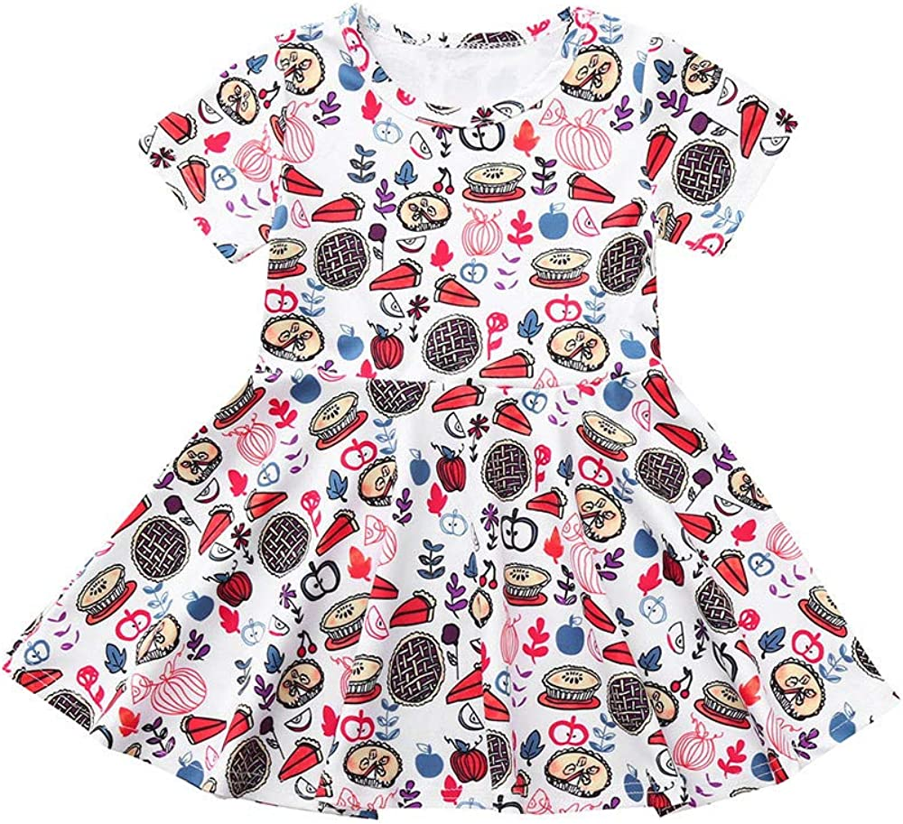 Toddler Infant Kids Baby Girls Thanksgiving Floral Dress Party Sundress Outfits Clothes Dream Room Dresses