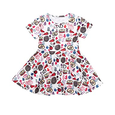 14d7060d508a Amazon.com  KONFA Toddler Baby Girl Thanksgiving Day Party Dress ...