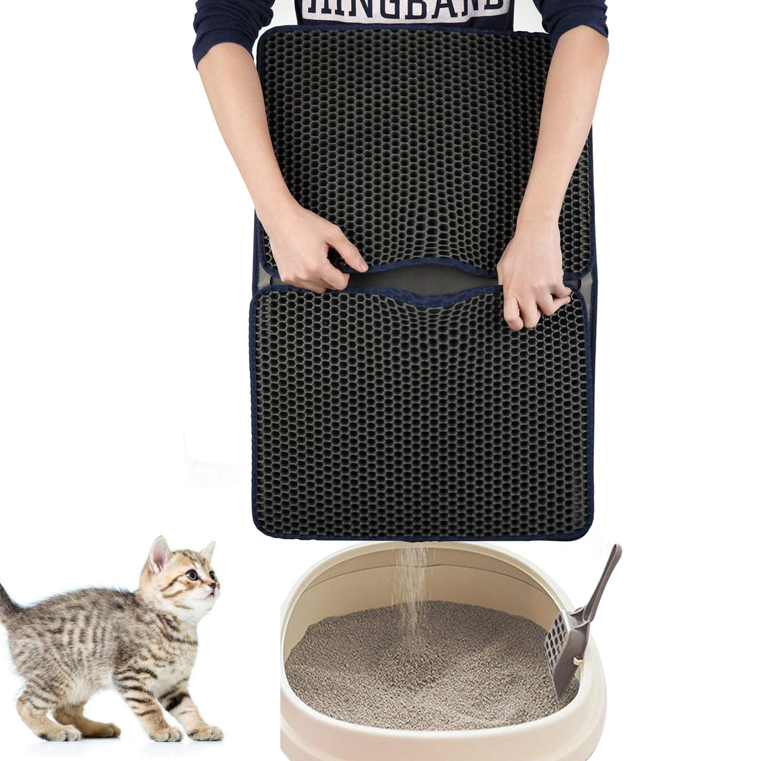 SLSON Cat Litter Mat 26.4 x18 inches, Litter Trapping Mat for Cat Waterproof Urine Proof Honeycomb Double Layer Design Trapper Mat for Litter Boxes Keep Floor Carpet Clean