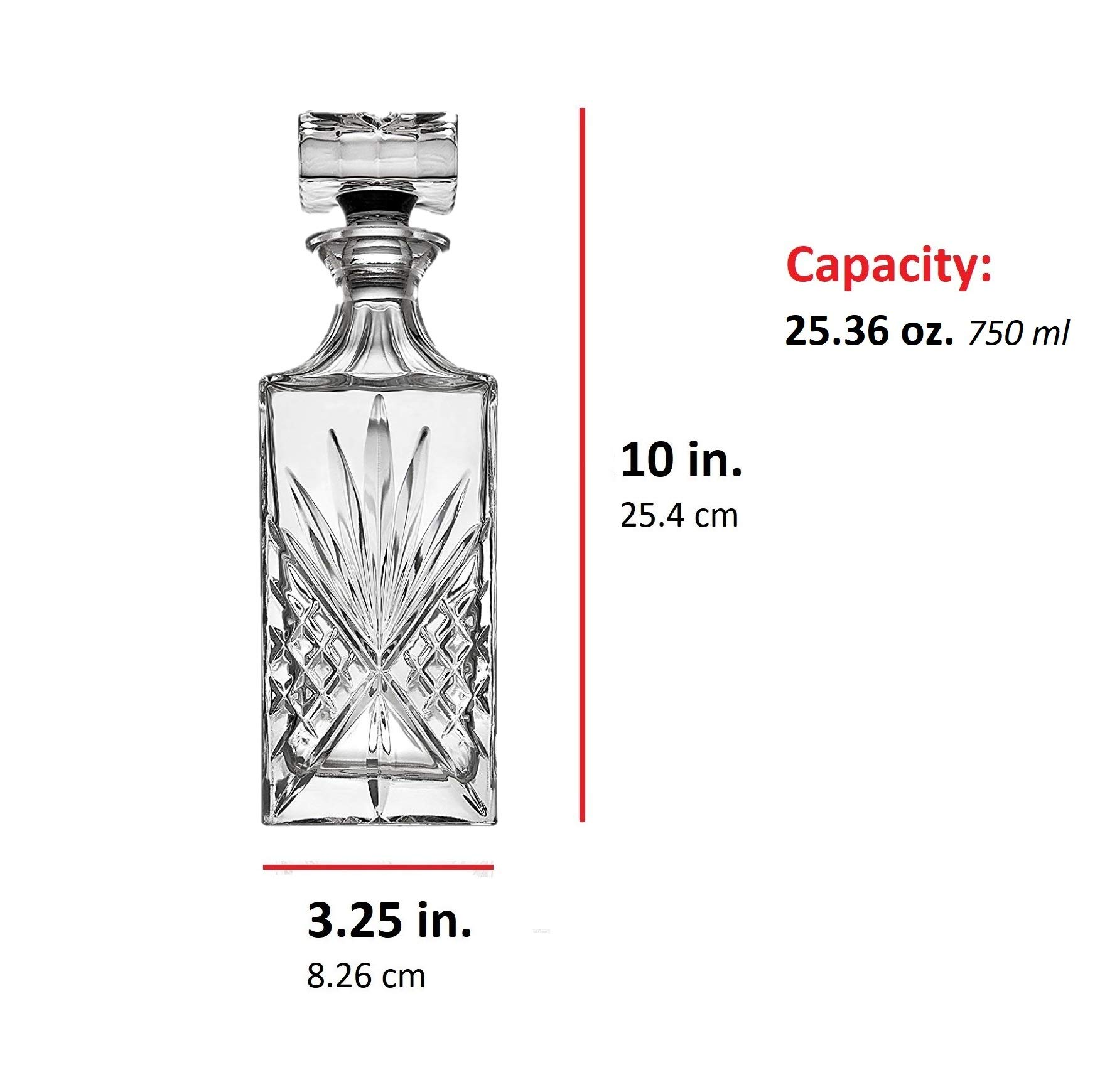 Crystal Decanter for Liquor, Whiskey, and Bourbon - 25 Oz. Lead Free | Irish Cut design | Packaged in a Beautiful Gift Box by James Scott