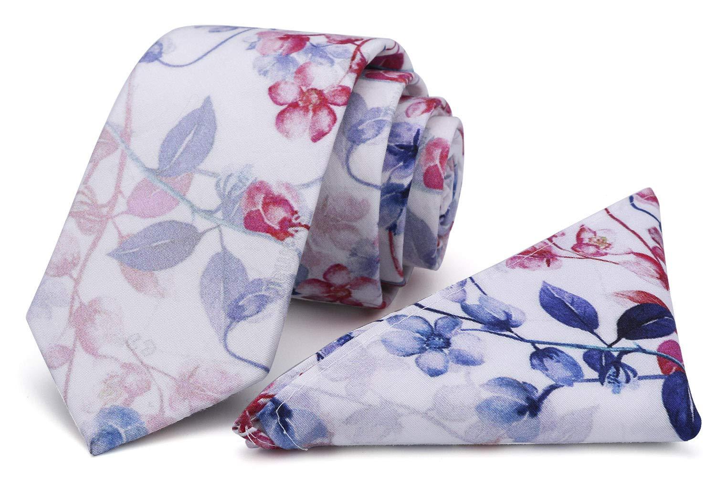 Kingdom Secret Men's Skinny Tie Floral Print Cotton Necktie and Pocket Square Set, Great for Weddings, Groom, Groomsmen by KINGDOM SECRET