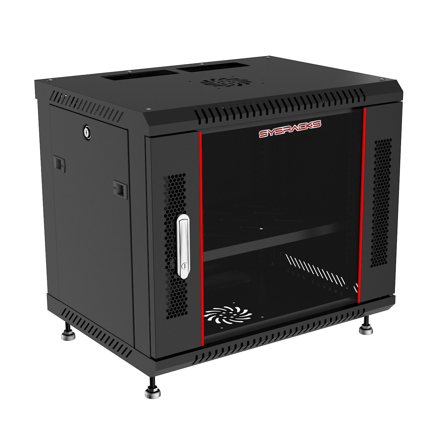 9U18in Depth Wall Mount Server Rack Cabinet(24' w x18 d x20 h)(600x450x496mm.) Glass Door(1 Fan, 1 Shelf, 4 Feet, 1 Cable Entries)-Free!!! SYSRACKS 4328519886
