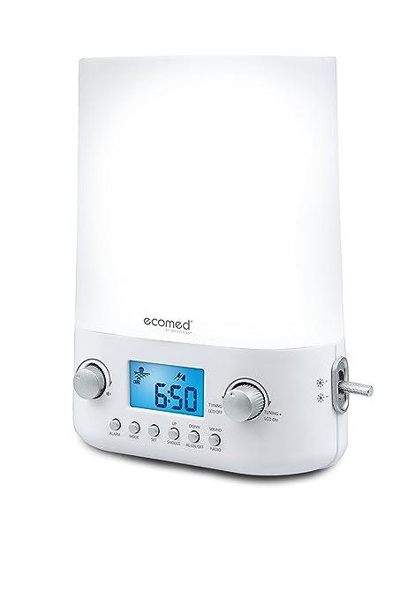 Ecomed WL50E, Alarma de Luz, intensidad de luz en 10 niveles, sonidos naturales, radio, alarma y función de repetición