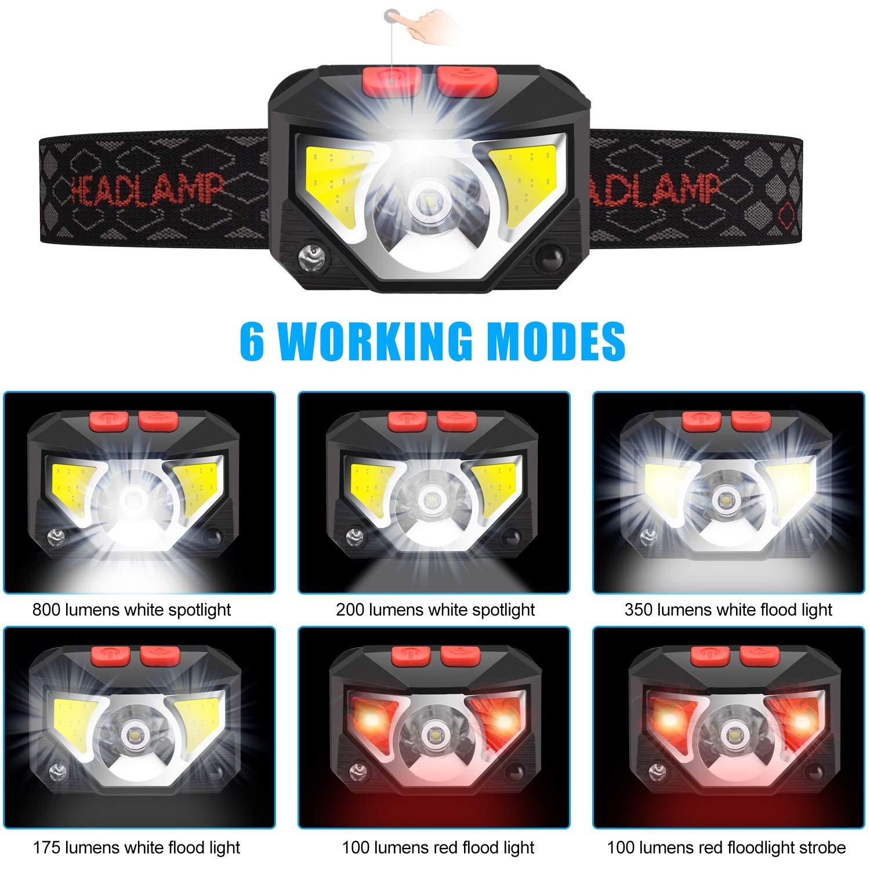 Linterna Liviana y c/ómoda para Correr Linterna LED COB Acampar 800 LM Linterna Frontal Ultrabrillante con Resistencia al Agua IPX45 Pescar Anecity Linterna Frontal LED USB Recargable 1200mAh