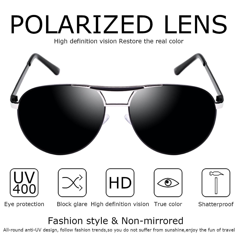 Kennifer Gafas de sol Polarizadas del Aviador de los Hombres de la Lente del Espejo de la Manera del Capítulo del Metal de los Hombres que Conducen la Pesca ...