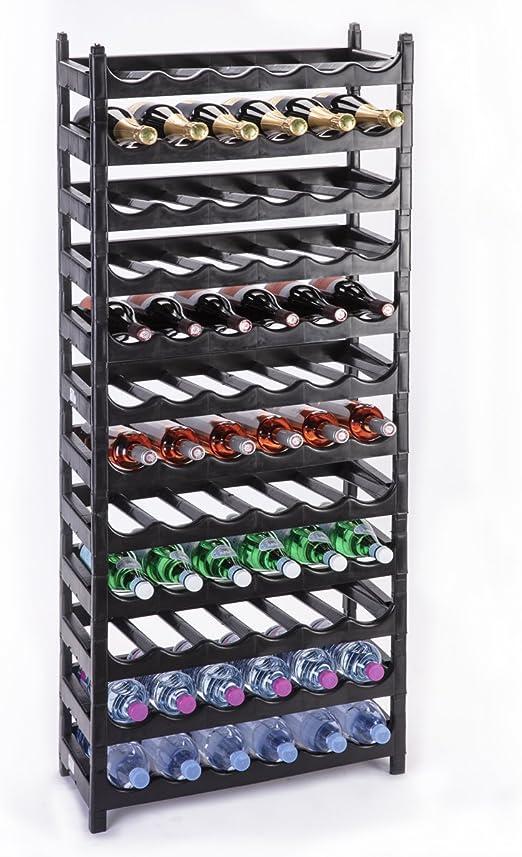 wedestock etagere a bouteille casier a bouteille modulable plastique 72 bouteilles noir