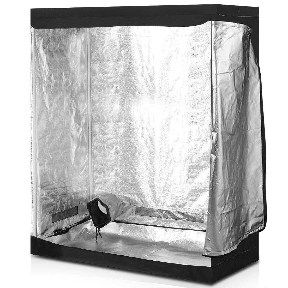 Giantex Plant Growing Tent Indoor Grow Tent Room Reflective Hydroponic Non Toxic Clone Hut 6-Size Indoor Grow Tent 48 X24 X60