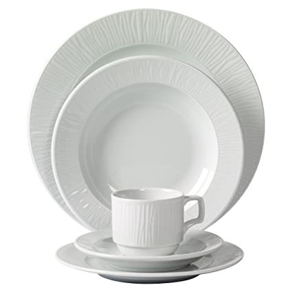 Tabletops Unlimited, Inc. Mitterteich Emotion Embossed Porcelain 20 Piece  Dinnerware Set