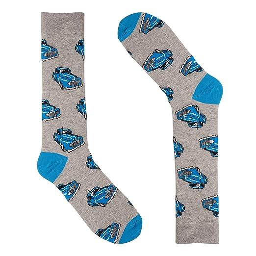 df68db86007fe Novelty Dress Socks for Men - Blue Truck Grey - Premium Cotton at ...