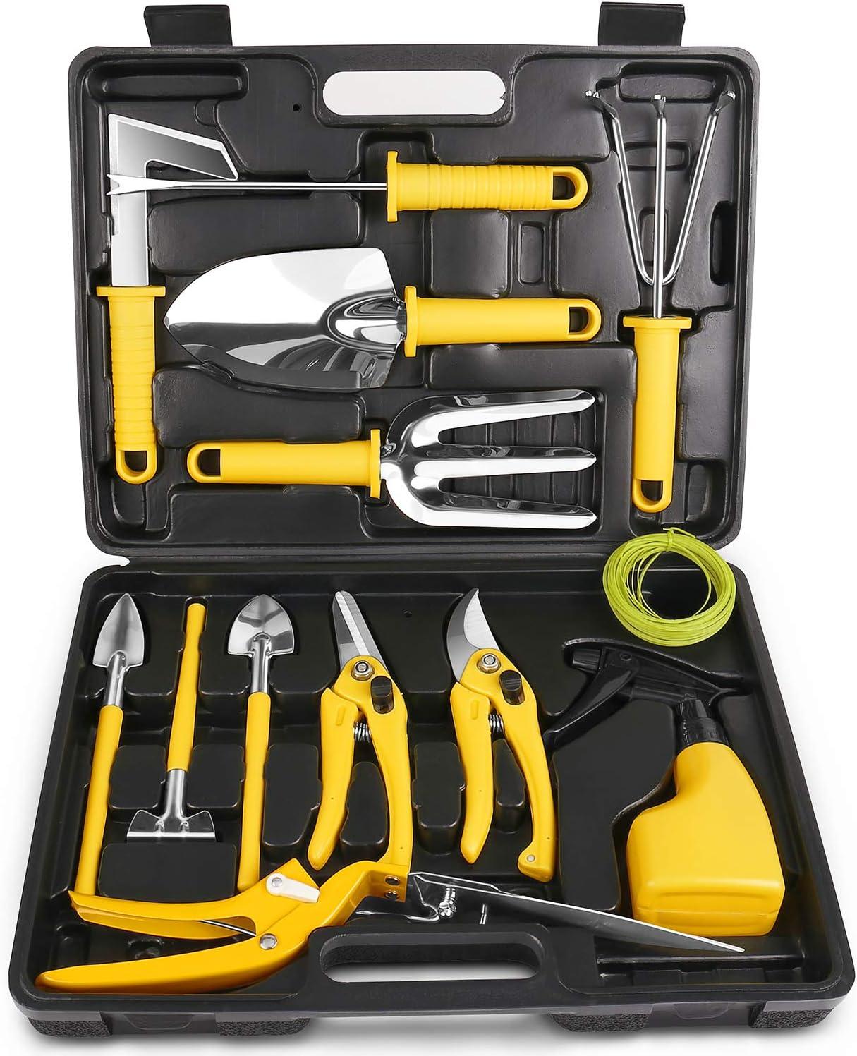 MOSFiATA Garden Tools Set 14 Pcs Stainless Steel Garden Tool Kit with Carrying Case, Heavy Duty Gardening Work Set, Include Pruner, Mini Rake, Big and Small Shovel, Sprayer, Weeder, Scissor etc.