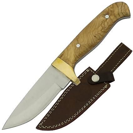 Amazon.com: Mango de madera de olivo de cuchillo de caza con ...