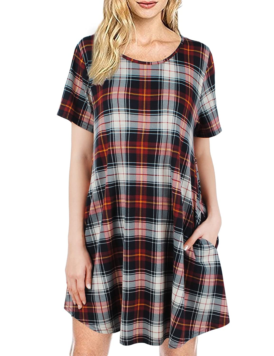 FANSIC Summer Women's Short Sleeve Swing Tunic Plaid T-Shirt Dress With Pocket