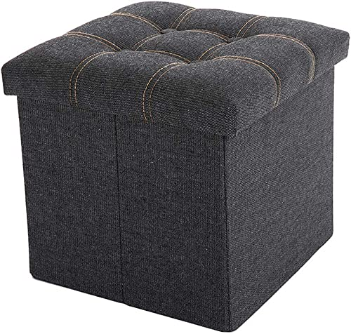 WALTSOM Folding Storage Ottoman, Cube Footrest Seat Stool Toy Chest with Button Tufted Lid, Soft Padding for Home and Office, 15 X15 x15 Black