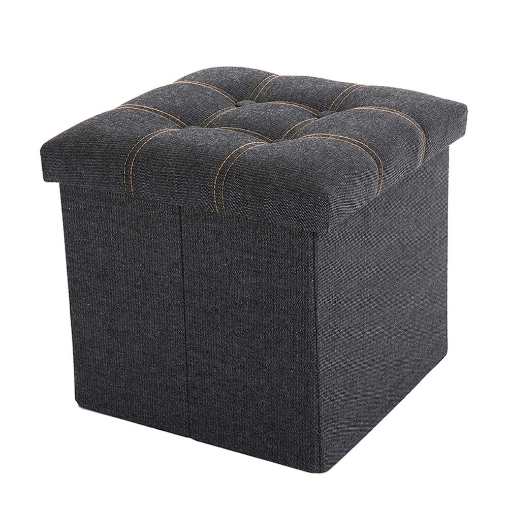 WALTSOM Folding Storage Ottoman, Cube Footrest Seat Stool Toy Chest with Button Tufted Lid, Soft Padding for Home and Office, 15''X15''x15'' (Black) by WALTSOM