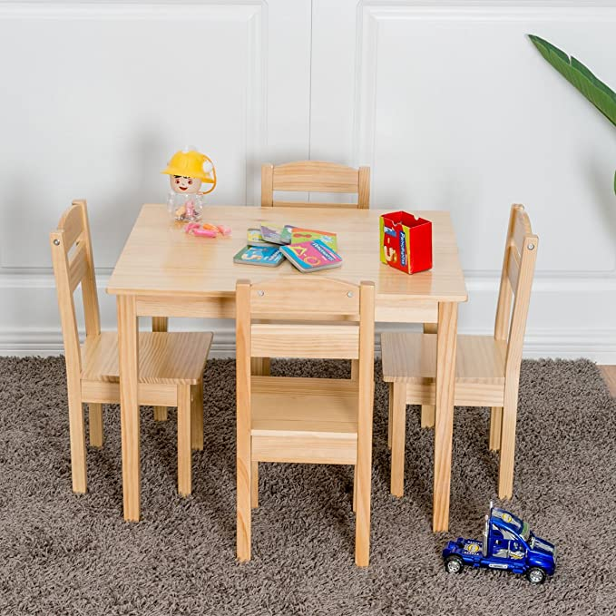 Amazon.com: Kids 5 Pcs. Table Chair Set Pine Wood Children ...