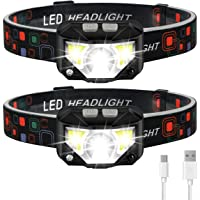 Headlamp Flashlight, LHKNL 1100 Lumen Ultra-Light Bright LED Rechargeable Headlight with White Red Light, 2-PACK…