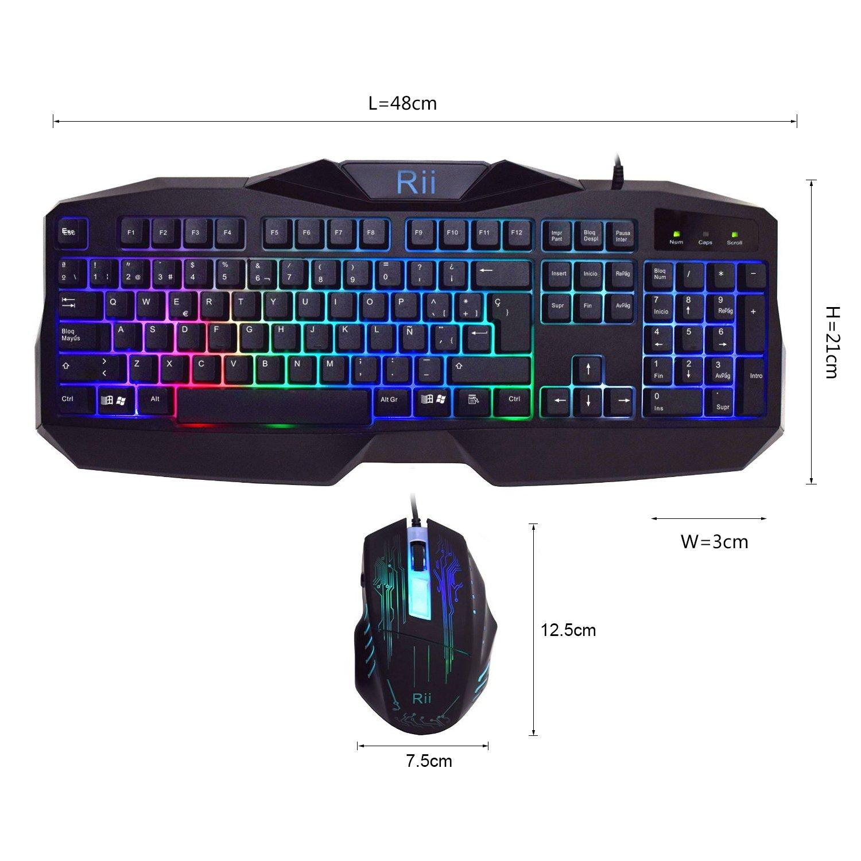 Rii RM Combo Teclado y ratón LED para GAMERS Retroiluminado con colores