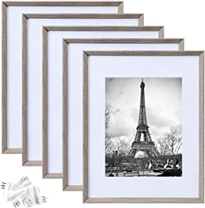 upsimples 11x14 Picture Frame Set of 5,Display Pictures 8x10 with Mat or 11x14 Without Mat,Rustic Photo Frames Collage for Wall Display,Light Grey