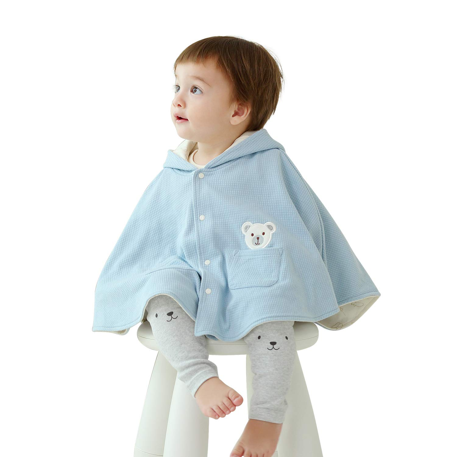 pureborn Toddler Baby Boys Cotton Hooded Cartoon Bear Carseat Poncho Cloak Blue 1-3 Years by pureborn
