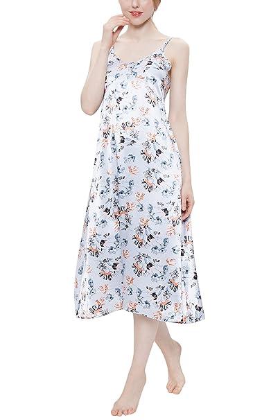 YAOMEI Camisón para Mujer Camisones Raso Satin Largo Pijamas, lencería Spaghetti Strap Babydoll Satén Floral