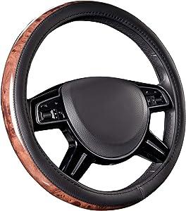 CAR PASS Universal Fit Full Wood Grain Leather Steering Wheel Covers Fit for Suvs,Trucks,Sedans, Anti-Slip Design …(Black)