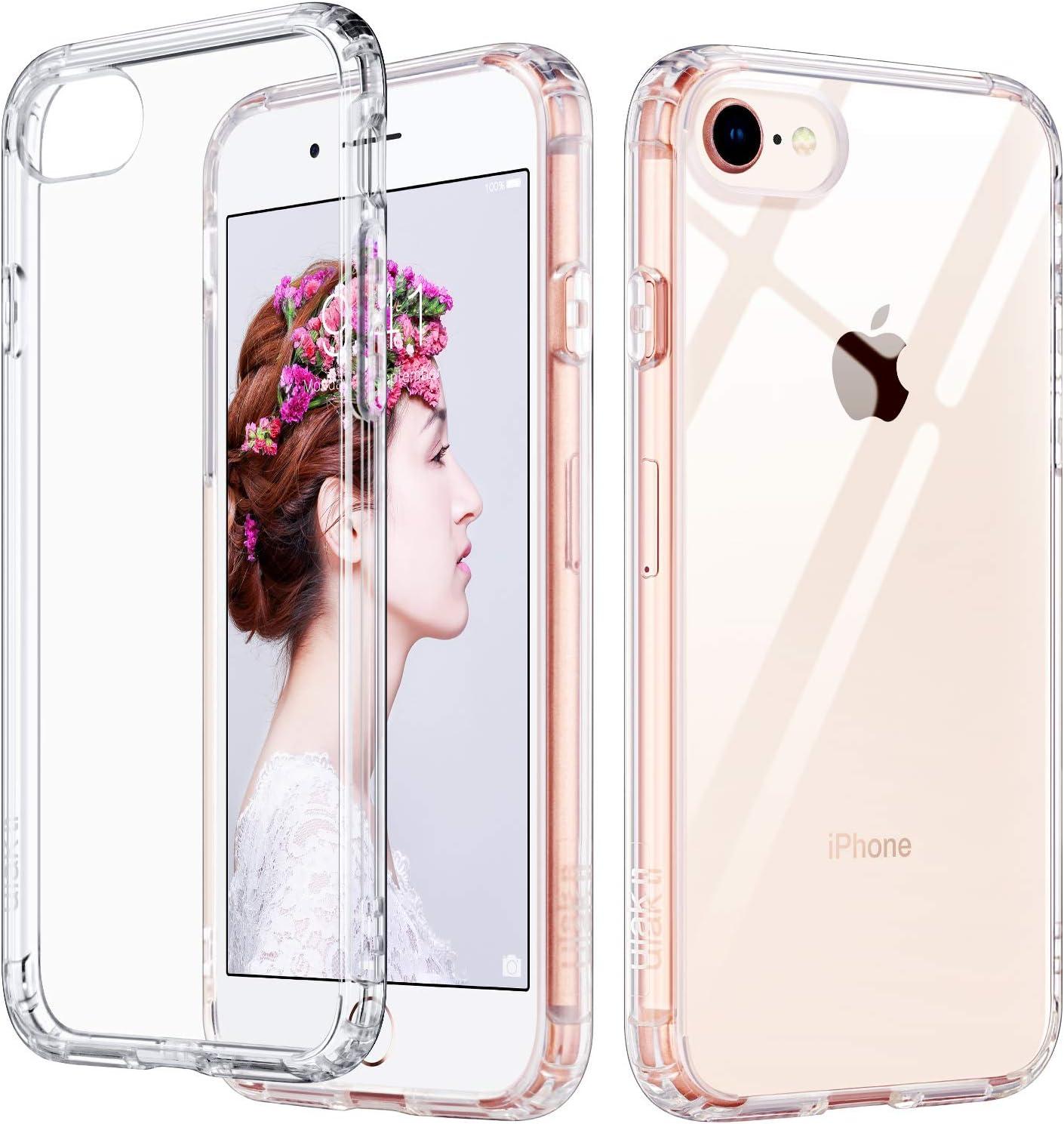 ULAK Slim Ultra Clear iPhone 8 Case, iPhone SE Case 2020, iPhone 7 Case 4.7 Inch, Hybrid TPU Shock-Absorption Anti-Scratch Bumper Hard Back Cover for ...