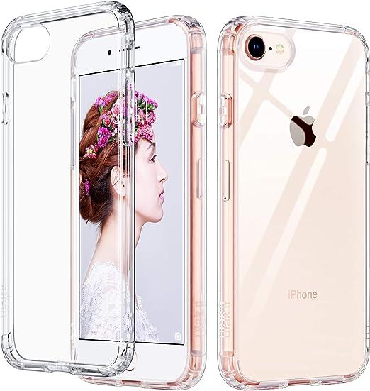 ULAK Slim Ultra Clear iPhone 8 Case, iPhone 7 Case 4.7 Inch,iPhone NEW SE 2020 Release case, Hybrid TPU PC Shock-Absorption Anti-Scratch Bumper Hard ...