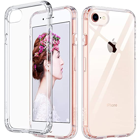 the latest e99b0 9da9b ULAK Slim Ultra Clear iPhone 8 Case, iPhone 7 Case 4.7 Inch, Hybrid TPU PC  Shock-Absorption Anti-Scratch Bumper Hard Back Cover (HD Crystal Clear)