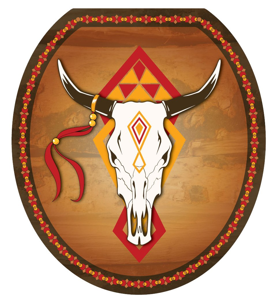 Toilet Tattoos TT-0007-R Southwest Cow Skull Decorative Applique For Toilet Lid, Round by Toilet Tattoos