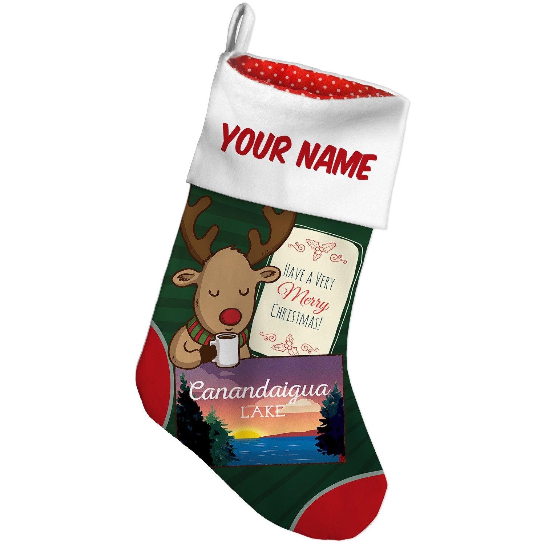 Amazon.com: Christmas Stocking Lake retro design Canandaigua Lake ...