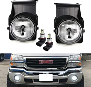 iJDMTOY OEM-Spec Clear Lens Fog Light Kit with 15-SMD Super Bright Xenon White LED Replacement Bulbs Compatible With 2003-2006 GMC Sierra 1500 2500 3500