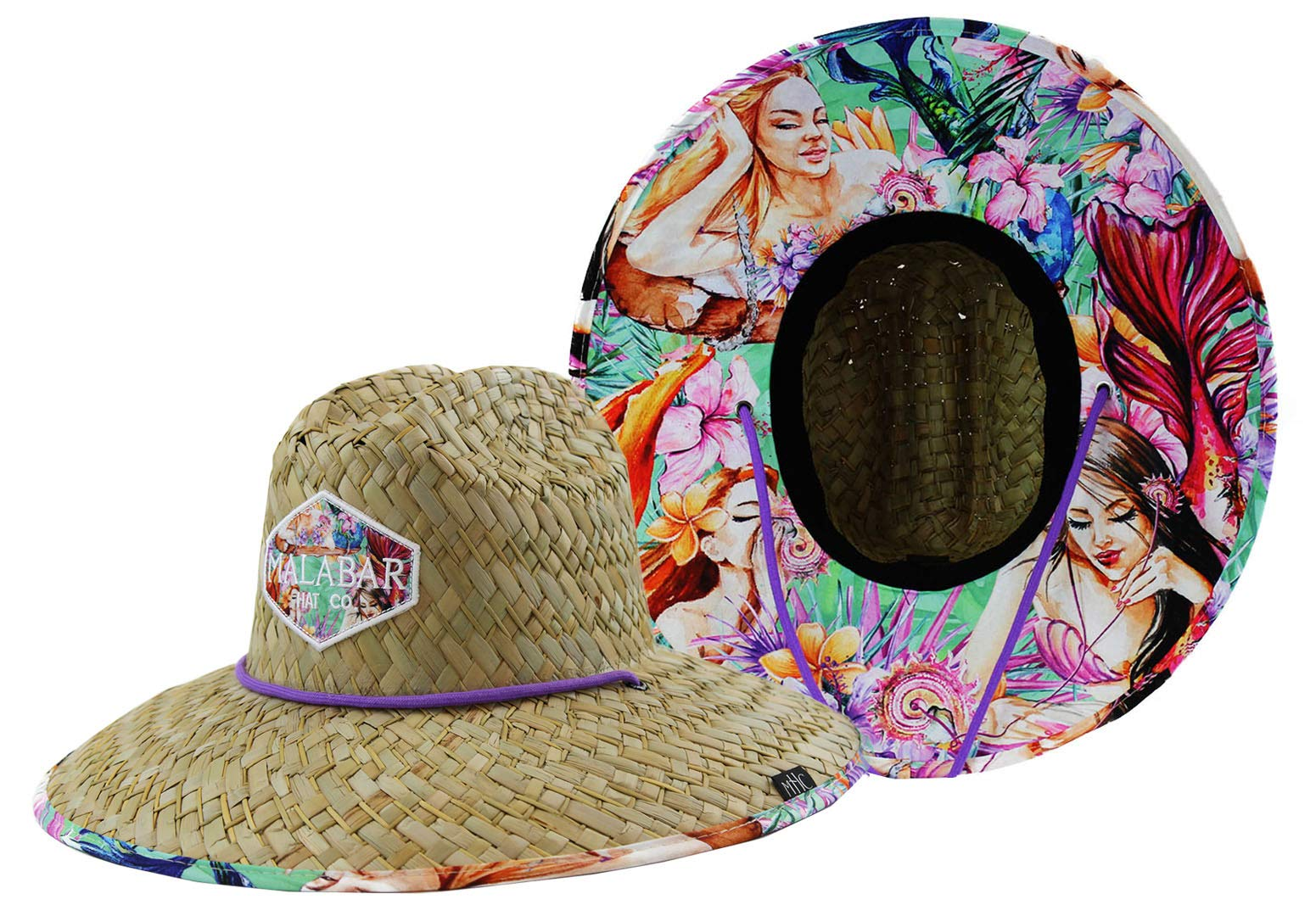 Woman''s Sun Hat Straw Hat with Fabric Print Lifeguard Hat Great for Beach Ocean, Cruise, and Outdoor, Malabar Hat Co. (Mermaid)
