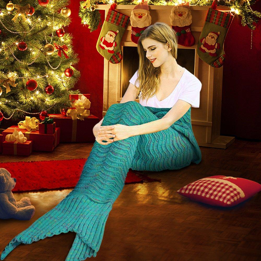 Fu Store Mermaid Tail Blanket Crochet Mermaid Blanket for Adult, Super Soft All Seasons Sofa Sleeping Blanket, Cool Birthday Wedding Christmas, 71 x 35 Inches, Mint Green by Fu Store (Image #7)