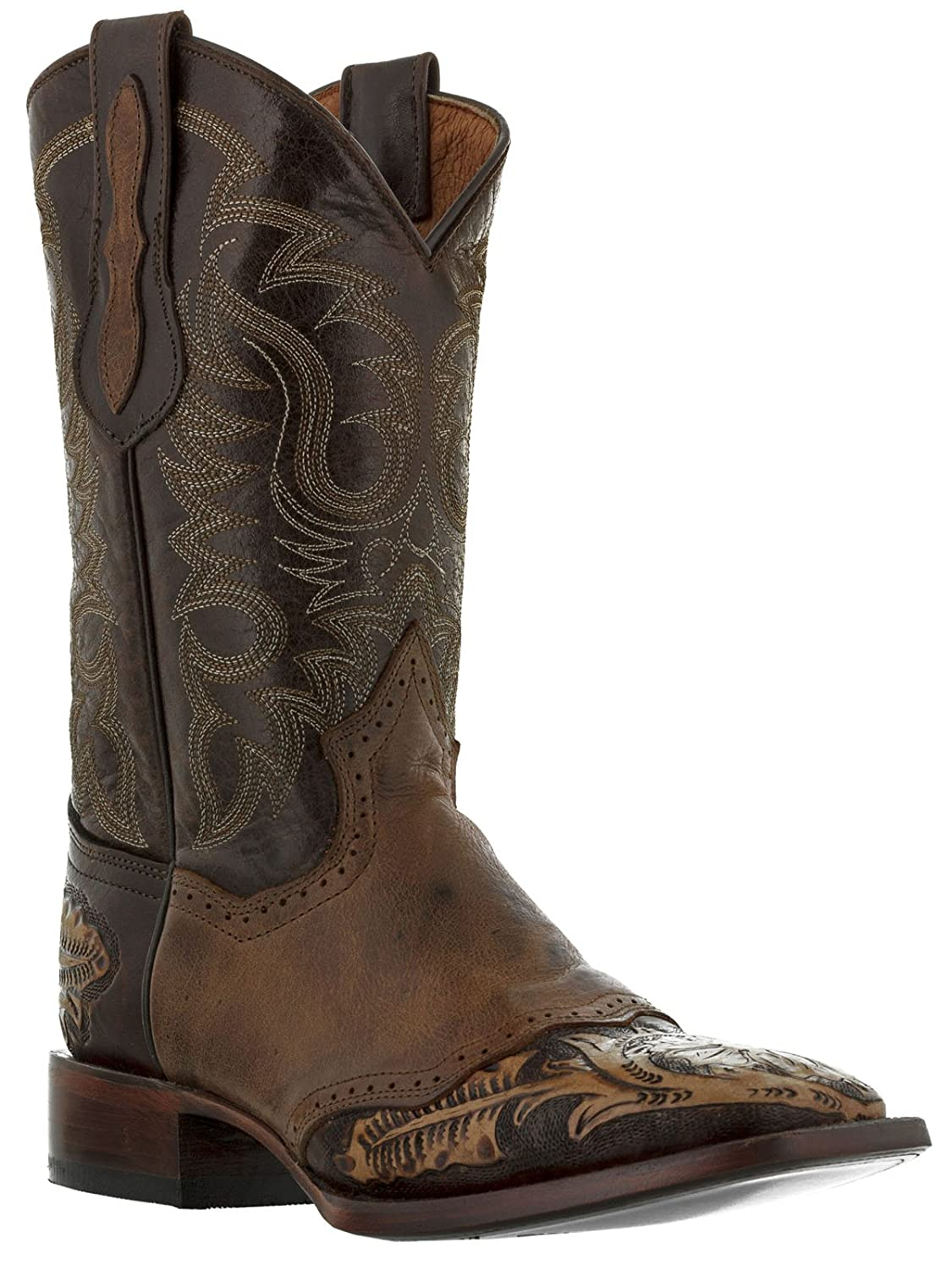El Presidente - Men's Brown Hand Tooled Leather Western Cowboy Boots Square Toe
