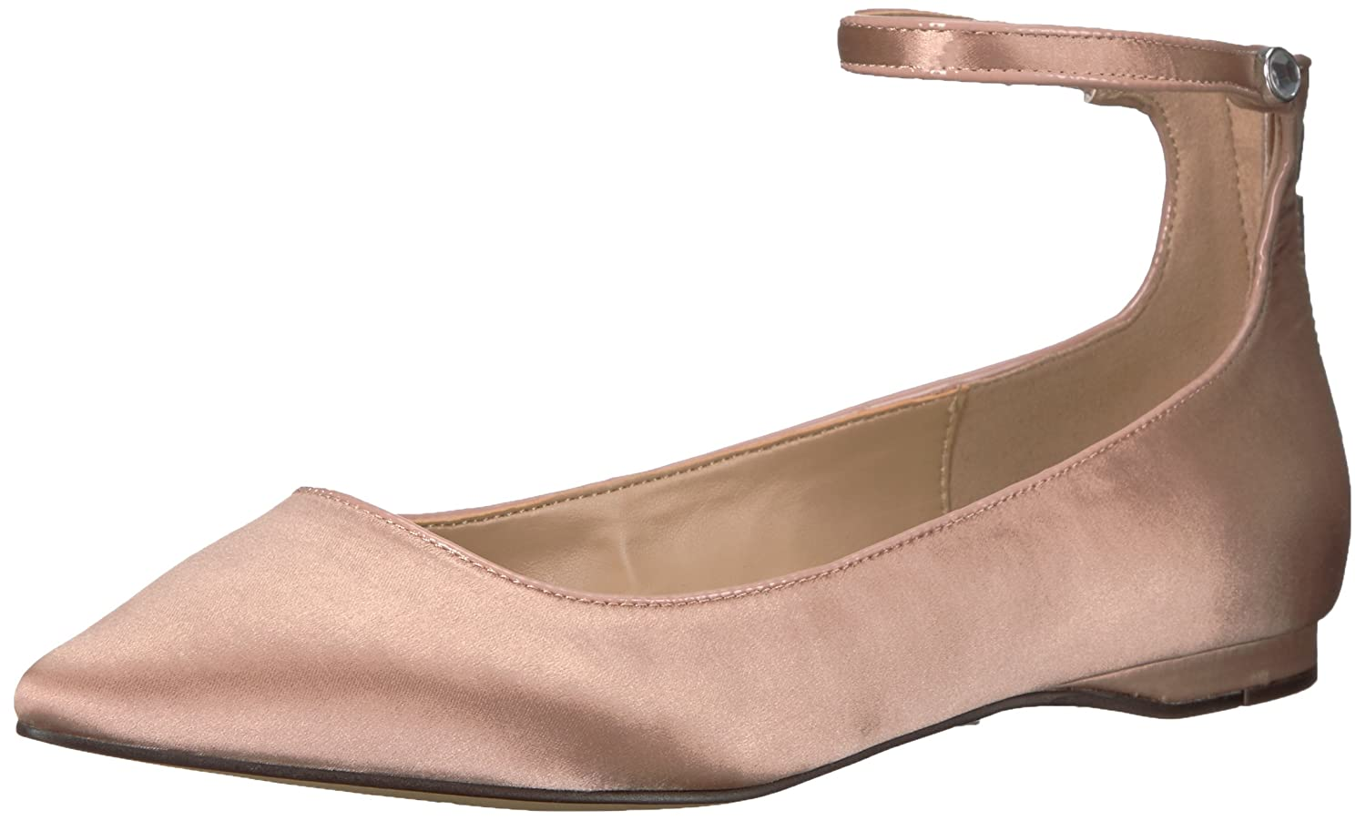 The Fix Women's Evie Military-Inspired Ankle Strap Pointed-Toe Flat B074KQR52C 8 B(M) US|Petal Blush Satin
