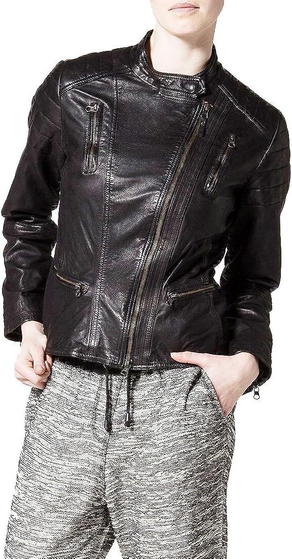 New Women Motorcycle Black Lambskin Leather Jacket Coat Size XS S M L XL LFWN015