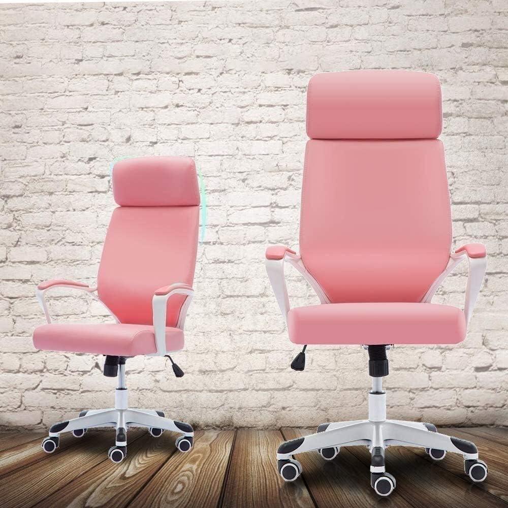 Suge Silla de Oficina giratoria Escritorio Silla ejecutiva ergonómica Tarea Silla con Cuero de la PU for el hogar Muebles (Color : Pink) Pink