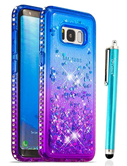 finest selection b241f 3aea6 Cattech Glitter Case for Galaxy S8 Case Liquid Quicksand Waterfall Flowing  Sparkle Shiny Bling Diamond Luxury Pretty Fashion Cute Girls Women Samsung  ...