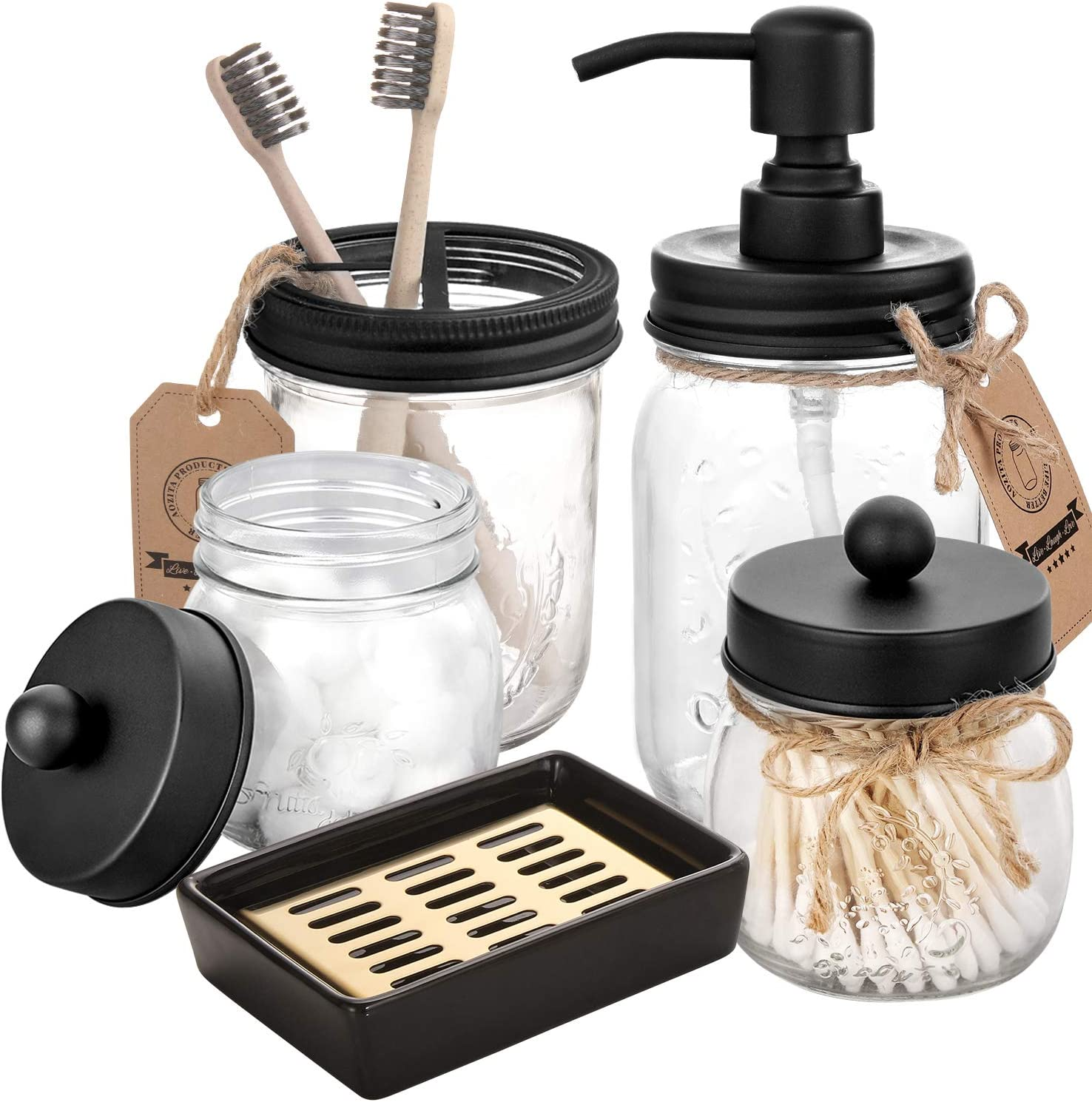 Mason Jar Bathroom Accessories Set 5 Pcs - Mason Jar Soap Dispenser & 2 Apothecary Jars & Toothbrush Holder &Ceramic Drain Soap Dish - Rustic Farmhouse Decor, Bathroom Home Decor Clearance, Black