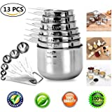 Measuring Cups Set 13 Piece Engraved Stainless Steel Measuring Cups and Measuring Spoons Combo Set for Kitchen Use, 7-Piece Stackable Stainless Steel Measuring Cups and 6-Piece Measuring Spoons Set