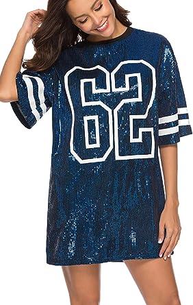 Vestidos Mujer Camiseta Vestido Casual Lentejuelas Verano Vestido Manga Corta Club Mini Vestidos de Fiesta: Amazon.es: Ropa y accesorios