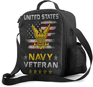 Vbmghdds Vintage Us Navy Veteran Flag Portable Insulated Lunch Bag Supernatural Oxford Cloth Lunch Bag Food Container Cooler Warm Pouch Pouch Adjustable Strap for School Work Office Travel Fishing.