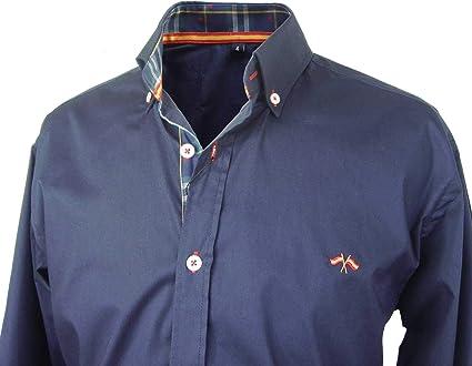Pi2010 Camisa Bandera de España Hombre Marino con Cuadro escoces, Fabricado en España: Amazon.es: Ropa y accesorios