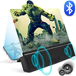 """3D Phone Screen Magnifier with Bluetooth Speakers 12"""" Anti-Blue Light Cell Phone Projector Amplifier with Foldable Holder Stand HD Movies Mobile Phone Screen Enlarger for All Smart Phone Model"""