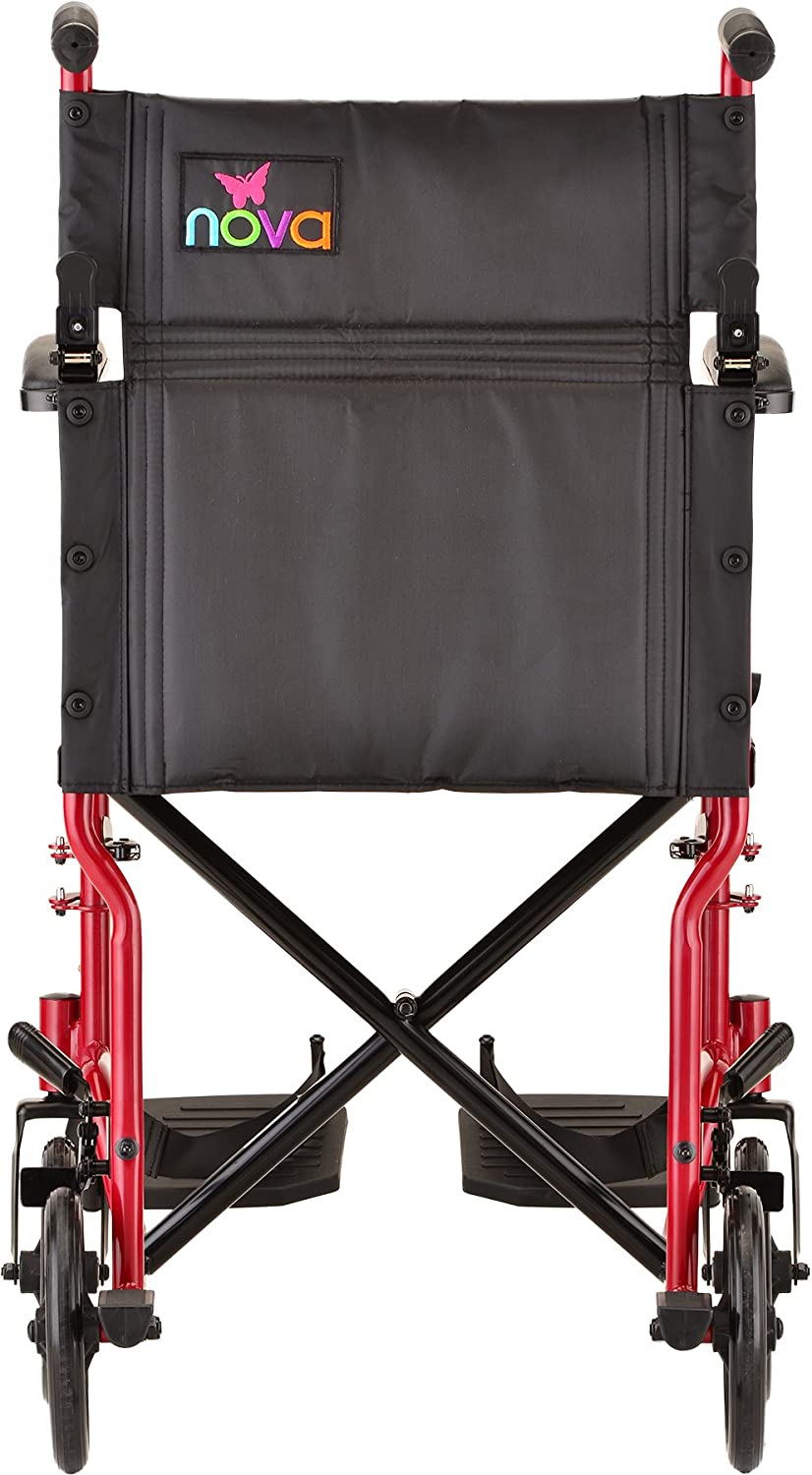 """NOVA Medical Products 19"""" Steel Transport Wheelchair, Blue: Health & Personal Care"""